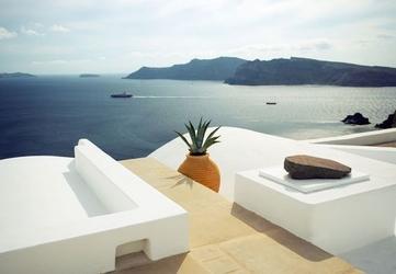 Lato w santorini, grecja - fototapeta