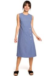 Niebieska mini sukienka z guzikami