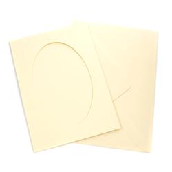 Kartka passe-partout owal - żółta jasna - ŻÓŁJAS