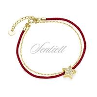 Srebrna pr.925 bransoletka z czerwonym sznurkiem - pozłacana gwiazda z cyrkoniami