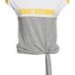 Shirt z przewiązaniem bonprix jasnoszaro-biało-żółty kanarkowy