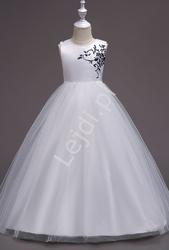 Biała długa suknia wieczorowa dla dziewczynki z granatowym haftem 819