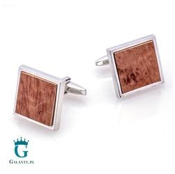 Kwadratowe spinki do mankietów z drewnem x2 briar1