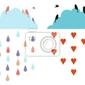 Fototapeta deszcz i chmury na niebie z ptakami, wektor