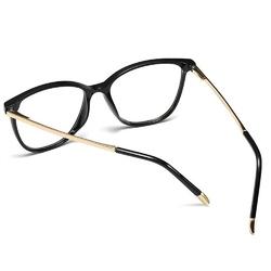 Okulary damskie zerówki czarne nerdy złote kujonki