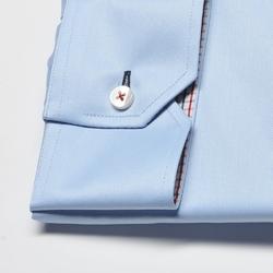 Elegancka błękitna koszula męska van thorn z włoskim kołnierzykiem - normal fit 40