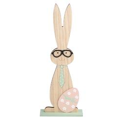 Figurka drewniana  ozdoba świąteczna na wielkanoc zajączki z jajkiem altom design 31 cm