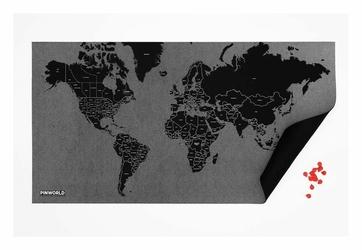Dekoracja ścienna Mini Pin World czarna granice państw