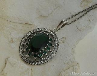Antonina - srebrny wisior szmaragdy z kryształ
