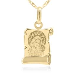 Złoty medalik matka boska i jezusem pr. 585 grawer - białe z różową kokardką
