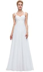 Skromna szyfonowa biała suknia ślubna z marszczeniem na biuście