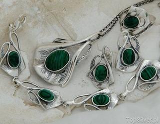 Elena - srebrny komplet z malachitem