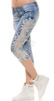 Rybaczki jeansowe z gipiurową białą koronką k600-390