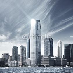 Obraz na płótnie canvas trzyczęściowy tryptyk przyszłe miasto - miasto newyork