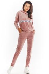Welurowe spodnie z logowaną taśmą w pasie - różowe