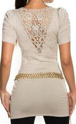 Beżowa  tunika damska  tunika z bufkami na ramionach| beżowe swetry damskie 1027