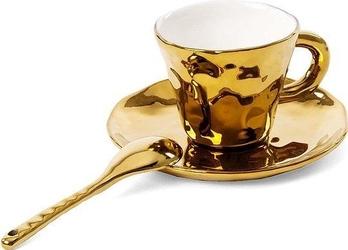 Filiżanka do kawy ze spodkiem i łyżeczką fingers