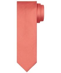 Koralowy krawat jedwabny o skośnym splocie
