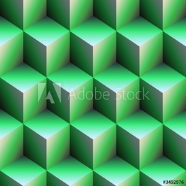 Plakat na papierze fotorealistycznym zielone kostki
