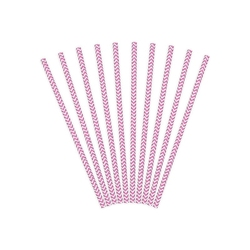 Papierowe Słomki - Różowo Białe - Chevron