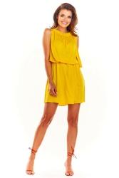 Żółta letnia sukienka z marszczonym dekoltem