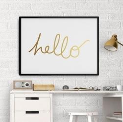 Hello - plakat ze złotym nadrukiem , wymiary - 20cm x 30cm, kolor ramki - czarny, kolor nadruku - srebrny