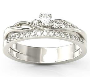 Pierścionek z białego złota z brylantami bp-77b - białe  diament