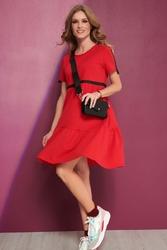 Czerwona bawełniana rozkloszowana sukienka z czarnymi taśmami