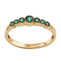 Staviori pierścionek. cyrkonia. żółte złoto 0,585.   złoty pierścionek ozdobiony zielonymi cyrkoniami.
