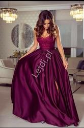 Długa bordowa suknia wieczorowa na cieńkich ramiączkach - bella