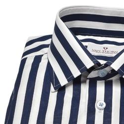 Koszula van thorn w pasy biało-granatowe z klasycznym kołnierzykiem 40