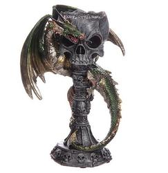 Zielony smok z kielichem w kształcie czaszki - świecznik