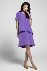 Fioletowa trapezowa sukienka z asymetryczną nakładką
