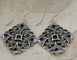 Panama - srebrne kolczyki z szafirami i perłami