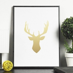 Złoty jeleń - plakat ze złotym nadrukiem , wymiary - 60cm x 90cm, kolor ramki - czarny, kolor nadruku - złoty