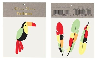 Zmywalne tatuaże dla dzieci meri meri - tukan