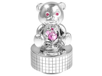 Pozytywka miś różowe kryształy swarovski prezent na chrzest roczek grawer - miś
