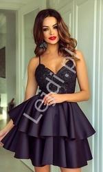 Czarna sukienka z piankową spódnicą z falbaną leila