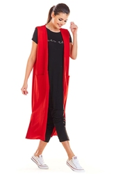 Czerwona długa dzianinowa kamizelka z kieszeniami