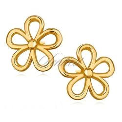 Srebrne kolczyki pr. 925 pozłacane kwiatki - żółte złoto