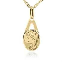 Złoty medalik z matką boską w kształcie łzy pr. 585 pamiątka chrzest komunia bierzmowanie grawer różowa kokarda - białe z różową kokardką