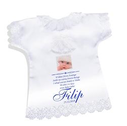 Koszulka szatka na chrzest biała satynowa pamiątka chrztu ze zdjęciem
