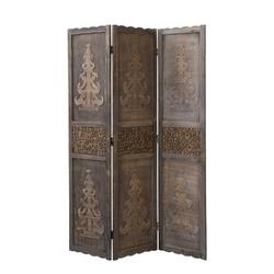 Parawan drewniany 3 częściowy brązowy