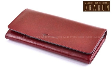 Duży skórzany portfel damski dragon bordo wiśnia