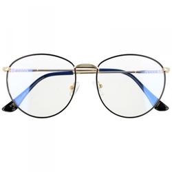 Owalne metalowe okulary damskie złote z antyrefleksem 2526