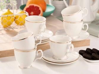 Zestaw kawowy dla 6 osób porcelana mariapaula ecru złota linia opakowanie prezentowe