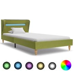 Vidaxl rama łóżka z led, zielona, tapicerowana tkaniną, 90 x 200 cm