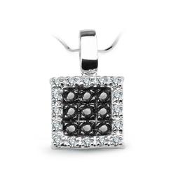 Staviori wisiorek. 16 diamentów, szlif achtkant, masa 0,08 ct., barwa h, czystość i1. 9 diamentów, kolor czarny, szlif brylantowy, masa 0,135 ct.. białe złoto 0,585. szerokość 8 mm.