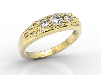 Pierścionek z żółtego złota z diamentami bp-49z - żółte  diament