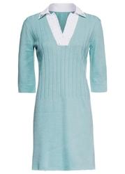 Sukienka dzianinowa z kołnierzykiem bonprix jasnoniebieski